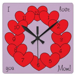 Relógio Quadrado Eu te amo corações vermelhos personalizados lindos
