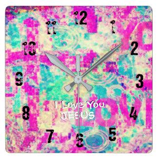 Relógio Quadrado Eu te amo JESUS