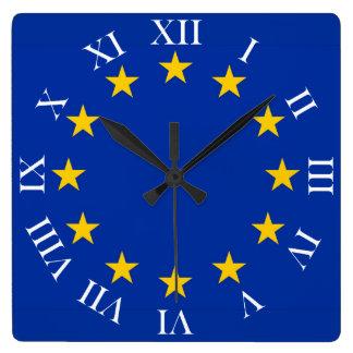 Relógio Quadrado Europa estandarte