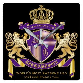 Relógio Quadrado Faça seu próprio emblema da coroa do monograma da