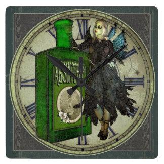 Relógio Quadrado Fada do absinto - La Fée Verte - a fada verde