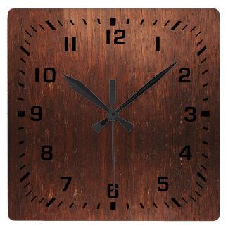 Relógio Quadrado Falso de Brown escuro de madeira