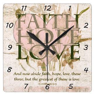 Relógio Quadrado Fé, esperança e amor