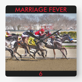 Relógio Quadrado Febre do casamento & principiante velho