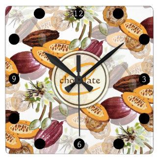 Relógio Quadrado Feijões de cacau, flores do chocolate, os