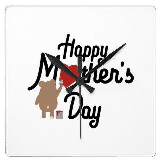 Relógio Quadrado Feliz dia das mães Zg6w3