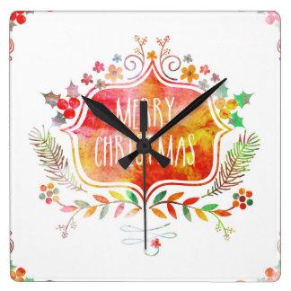 Relógio Quadrado Feliz Natal retro da aguarela