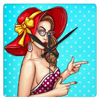 Relógio Quadrado Fêmea do pop art