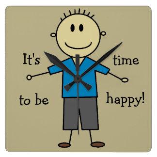 Relógio Quadrado Figura feliz design do menino da vara do