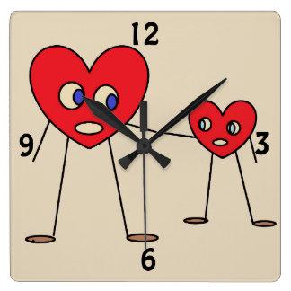 Relógio Quadrado Figuras design da vara do coração do pai e do