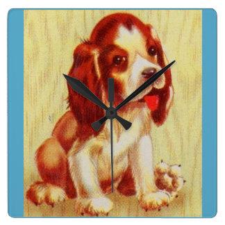 Relógio Quadrado filhote de cachorro pequeno bonito do lebreiro