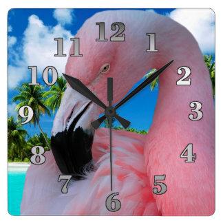 Relógio Quadrado Flamingo e praia