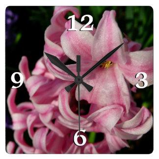 Relógio Quadrado Flor bonita do primavera do jacinto cor-de-rosa