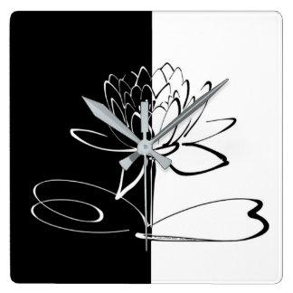 Relógio Quadrado Flor preta de Yin Yang Lotus branco