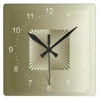 Relógio Quadrado Flor quadrada dourada