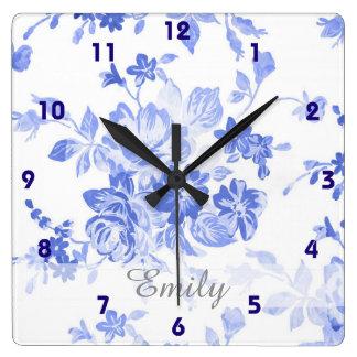 Relógio Quadrado floral branco azul do olhar bonito de delft do