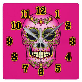Relógio Quadrado Floral magenta do crânio do açúcar