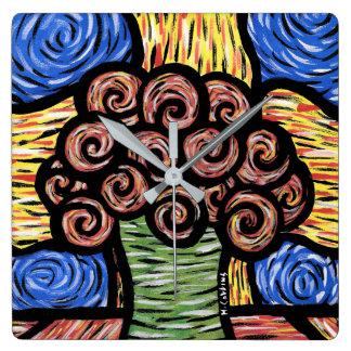 Relógio Quadrado Flores abstratas modernas no vaso