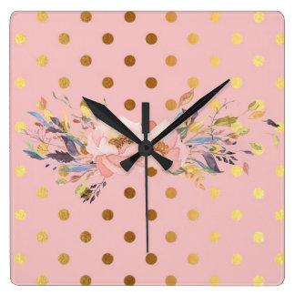 Relógio Quadrado Flores adoráveis das bolinhas do ouro do falso
