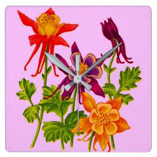Relógio Quadrado flores aquilégias