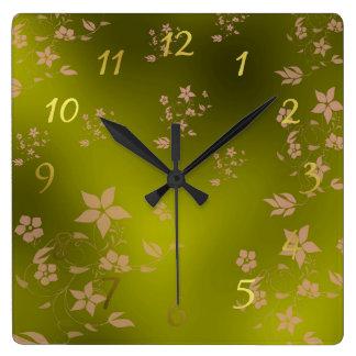 Relógio Quadrado flores asiáticas delicadas pequenas em um pulso de