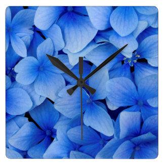 Relógio Quadrado Flores azuis do Hydrangea