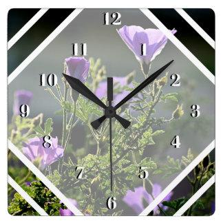 Relógio Quadrado Flores traseiras do roxo do Lit