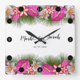 Relógio Quadrado Flores tropicais e caligrafia das folhas de