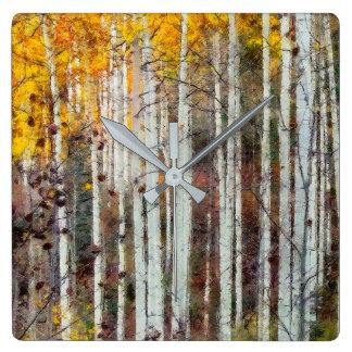 Relógio Quadrado Floresta enevoada do vidoeiro