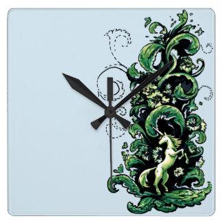 Relógio Quadrado Flourish do unicórnio