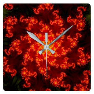 Relógio Quadrado Fogo do Fractal