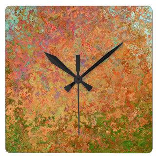 Relógio Quadrado Folha oxidada