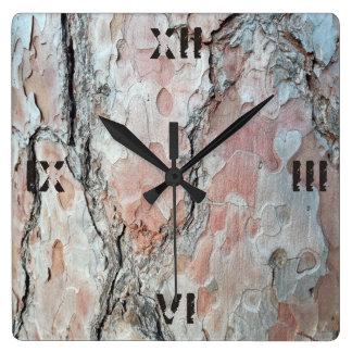 Relógio Quadrado Foto natural do latido com números romanos