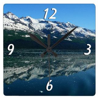Relógio Quadrado Fotografia bonita da natureza do litoral do Alasca
