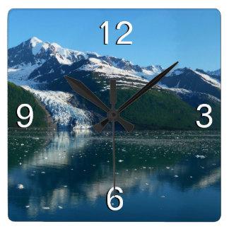 Relógio Quadrado Fotografia bonita do fiorde II Alaska da faculdade