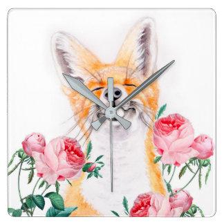 Relógio Quadrado Foxy feliz e rosas