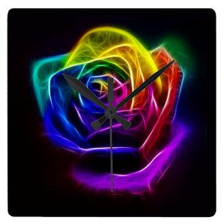 Relógio Quadrado Fractal cor-de-rosa do arco-íris