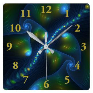 Relógio Quadrado Fractal do amarelo do verde azul do abstrato das