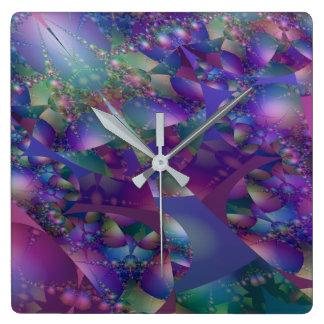 Relógio Quadrado Fractal roxo e azul da bolha