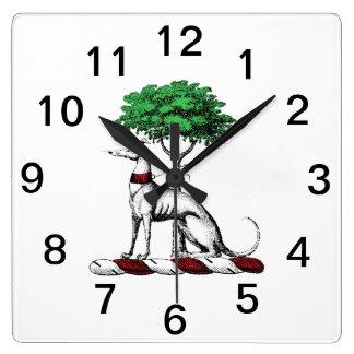 Relógio Quadrado Galgo Whippet com o emblema heráldico da crista da
