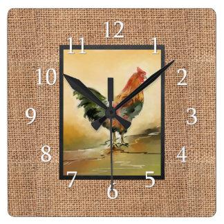 Relógio Quadrado Galo do país na serapilheira rústica