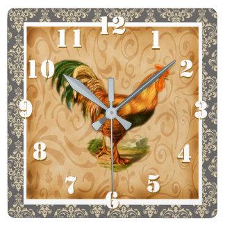 Relógio Quadrado Galo rústico ornamentado do país do damasco