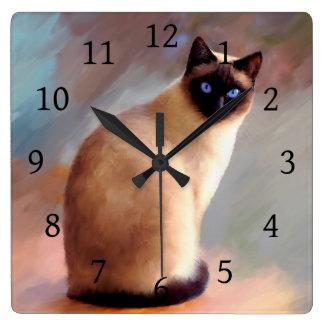 Relógio Quadrado Gato 613 Siamese