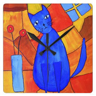 Relógio Quadrado Gato azul