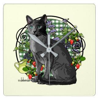 Relógio Quadrado Gato azul do russo com bagas