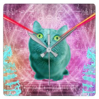 Relógio Quadrado Gato com olhos do laser