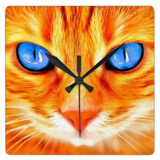 Relógio Quadrado Gato de olhos azuis