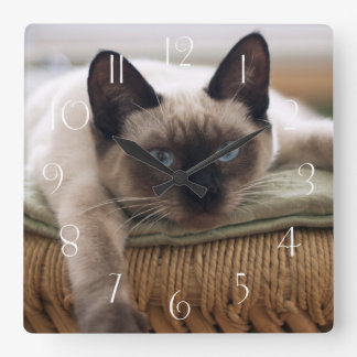 Relógio Quadrado Gato de Thaï