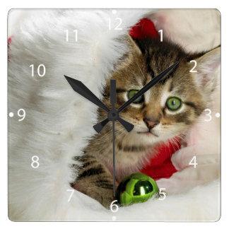 Relógio Quadrado Gato do Natal - gato do gatinho - gatos bonitos