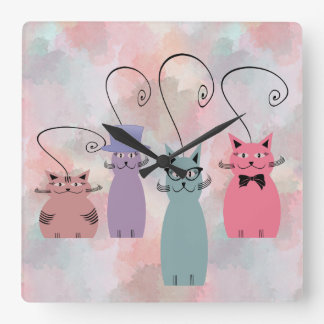 Relógio Quadrado Gatos coloridos engraçados dos desenhos animados
